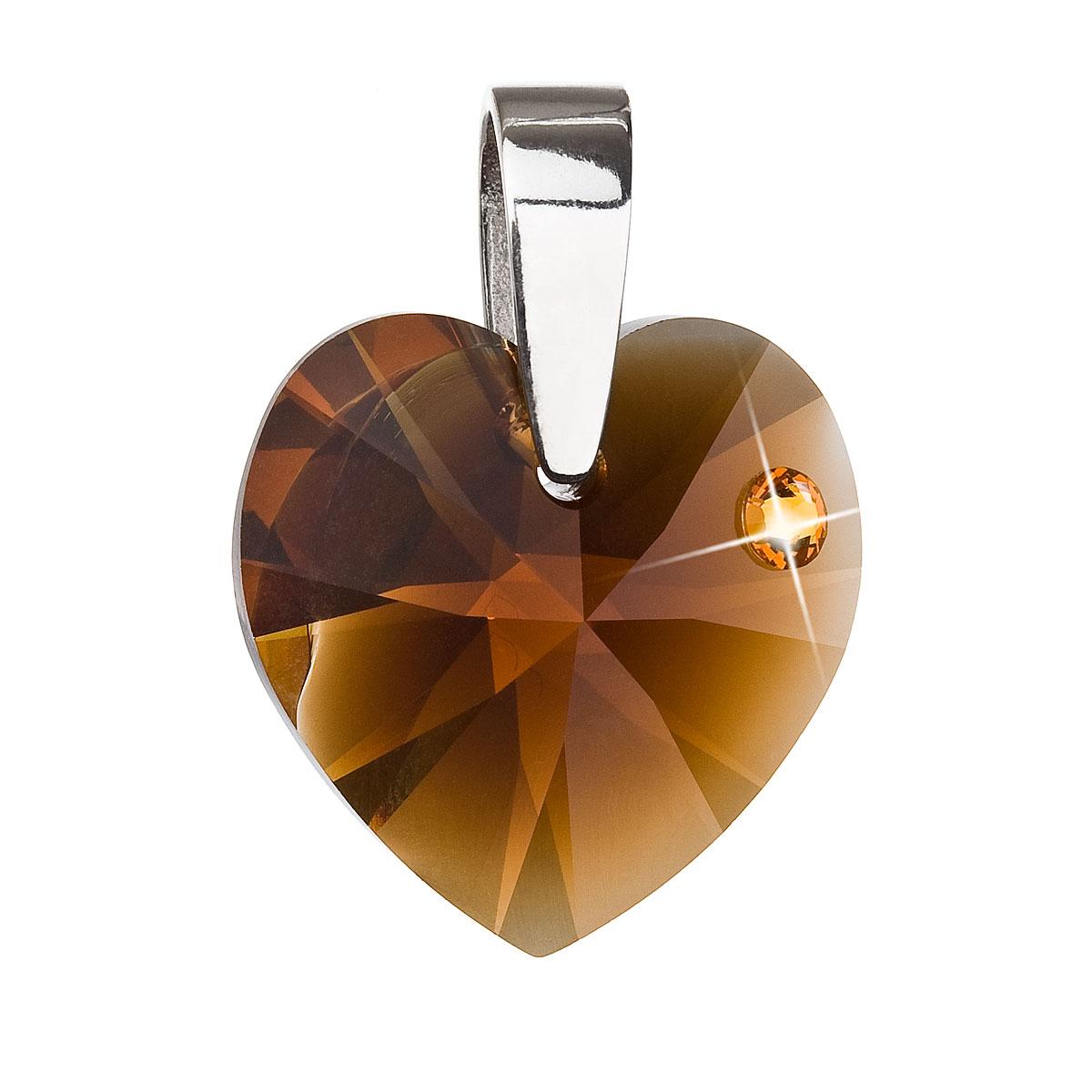 Stříbrný přívěsek s krystaly Swarovski hnědé srdce 34140.3