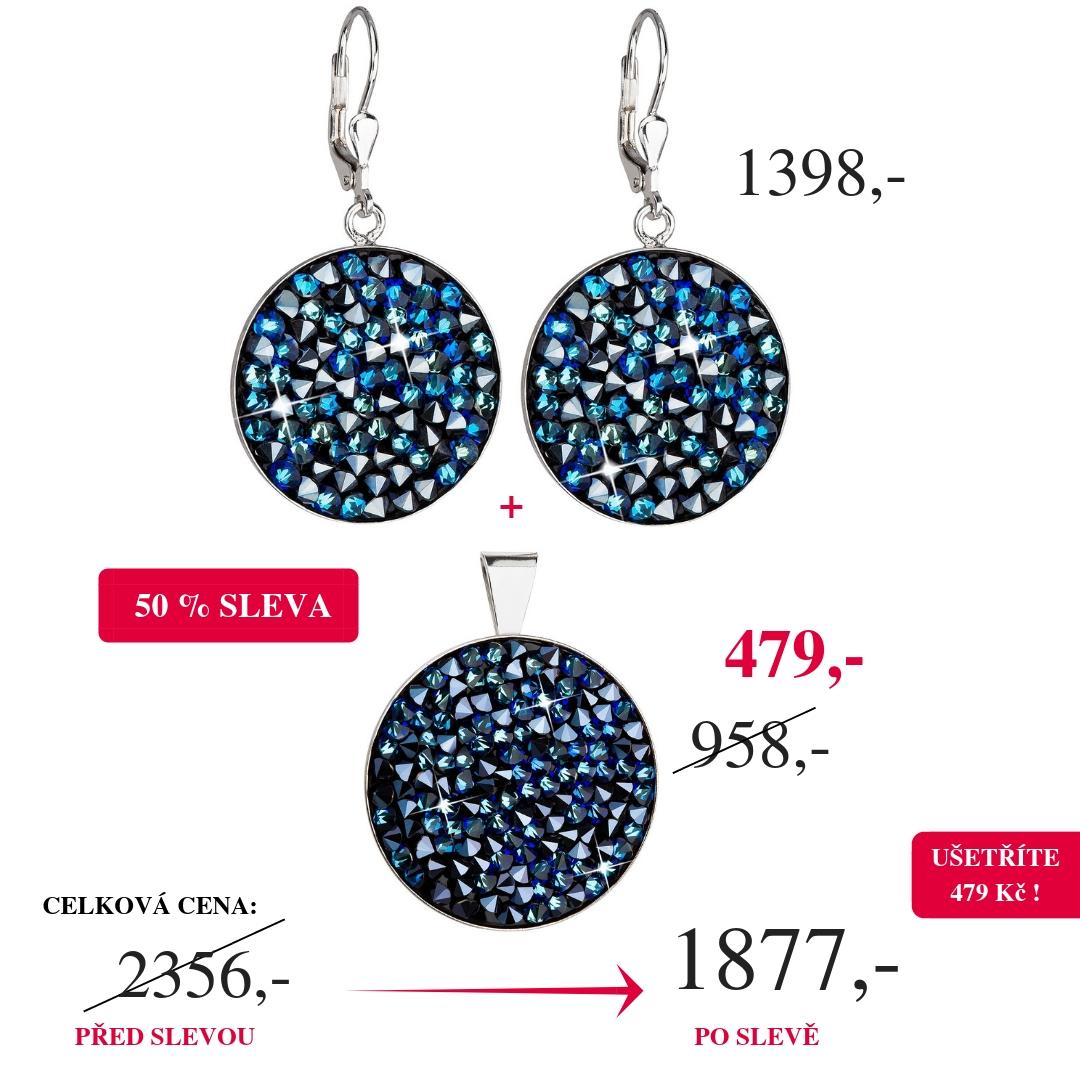 Evolution Group Stříbrné náušnice visací s krystaly Swarovski modré kulaté  31159.5 50% SLEVA 31159.3 34157.5 77769058c5f