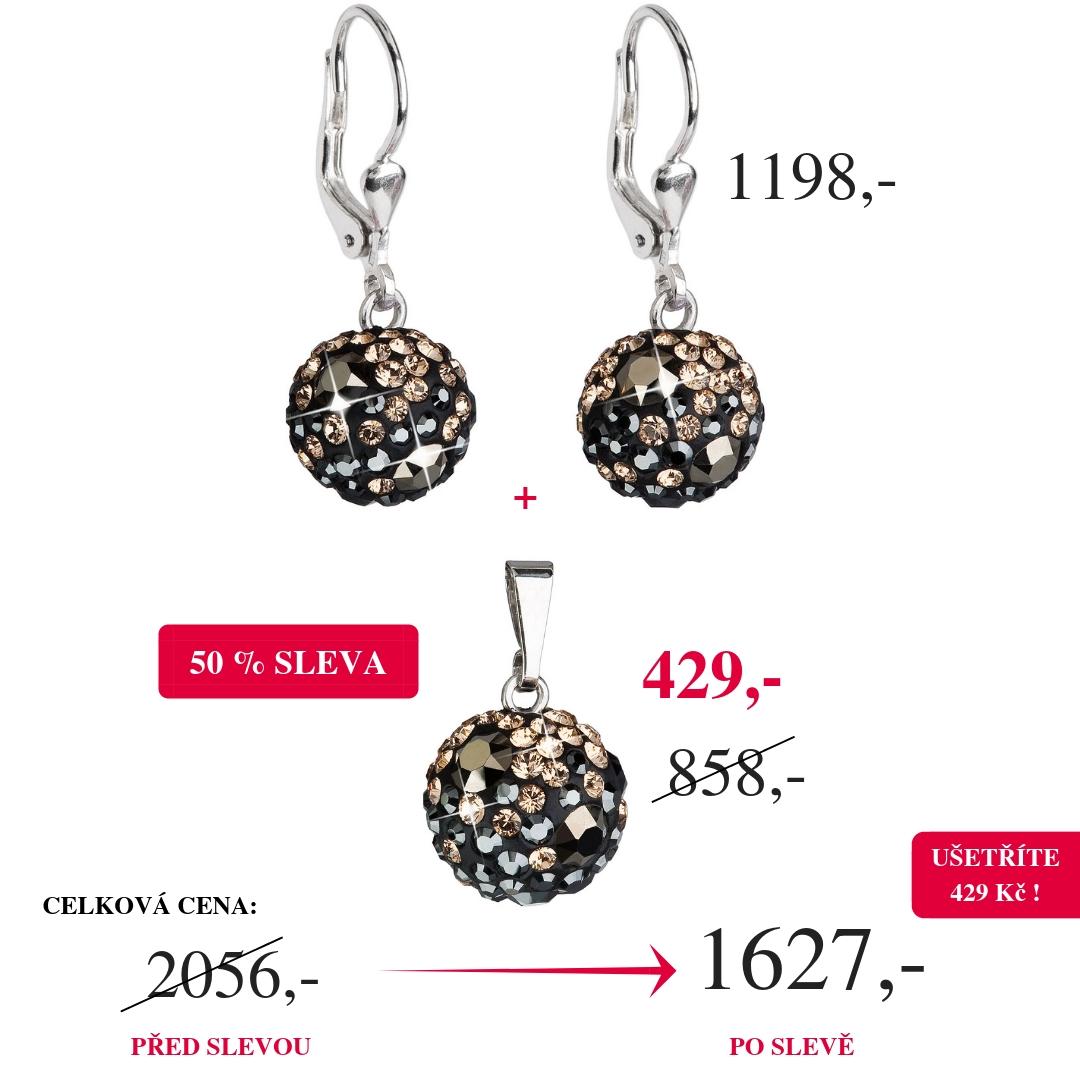 Evolution Group Stříbrné náušnice visací s krystaly Swarovski mix barev  kulaté 31109.4 50% SLEVA 31109.4 38b0c47c92b
