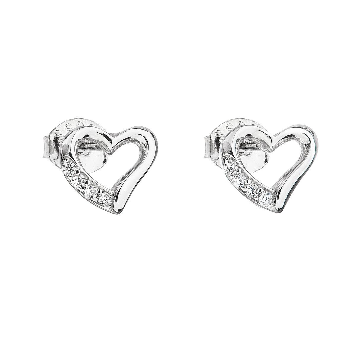 Stříbrné náušnice pecka se zirkonem bílé srdce 11071.1