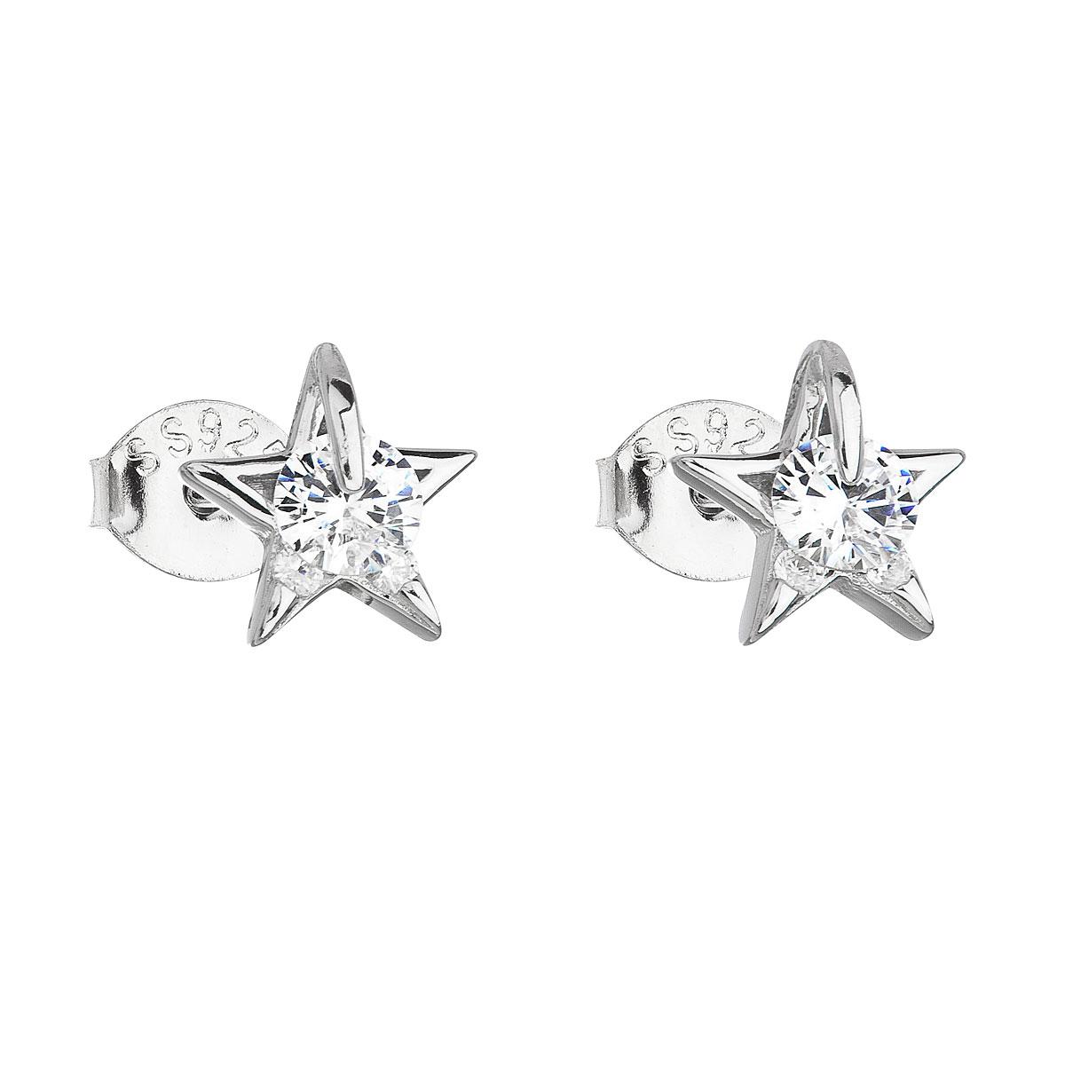 Stříbrné náušnice pecka se zirkonem bílá hvězdička 11105.1