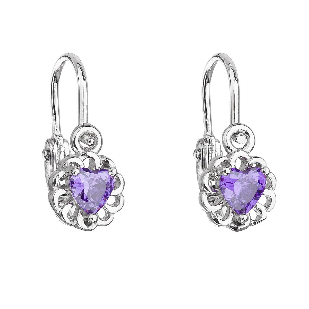 Stříbrné dětské náušnice visací se zirkonem fialové srdce 11173.3