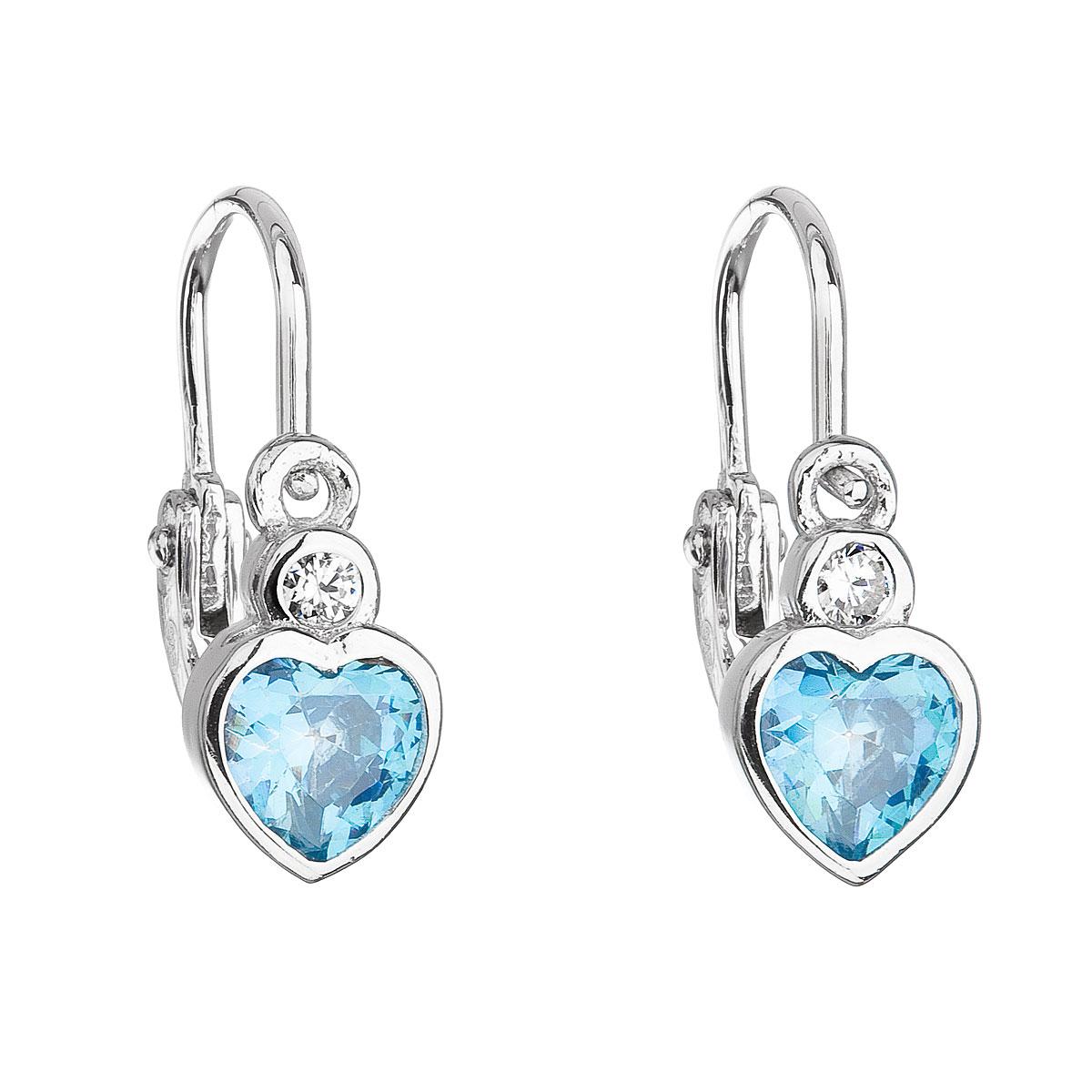 Evolution Group Stříbrné dětské náušnice visací se zirkonem modré srdce 11178.3