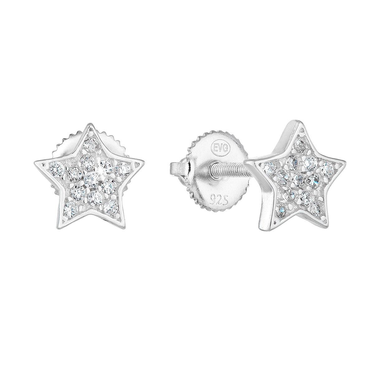 Evolution Group Stříbrné náušnice pecka se zirkonem bílá hvězdička 11259.1