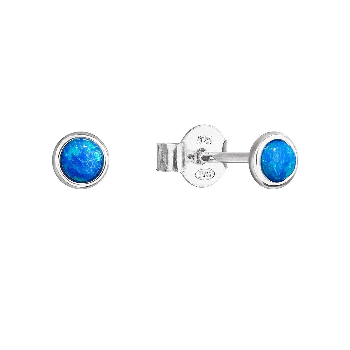 Evolution Group Stříbrné náušnice pecky se syntetickým opálem modré kulaté 11338.3