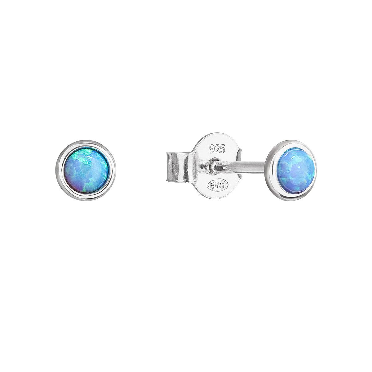 Evolution Group Stříbrné náušnice pecky se syntetickým opálem světle modré kulaté 11338.3