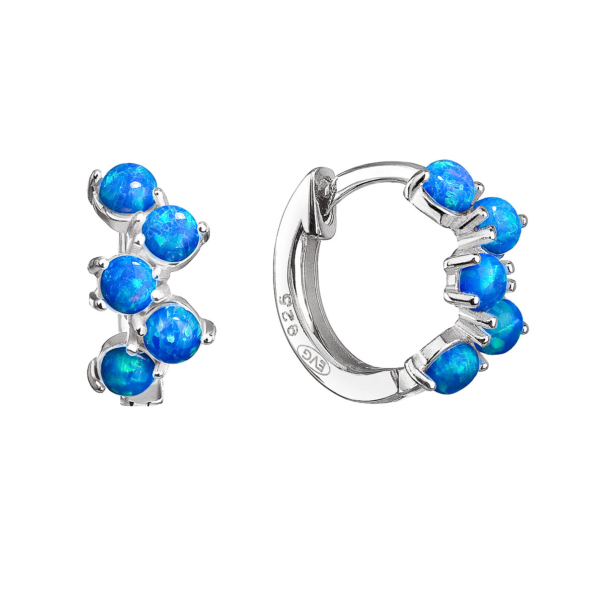 Evolution Group Stříbrné náušnice kruhy se syntetickými opály modré 11339.3
