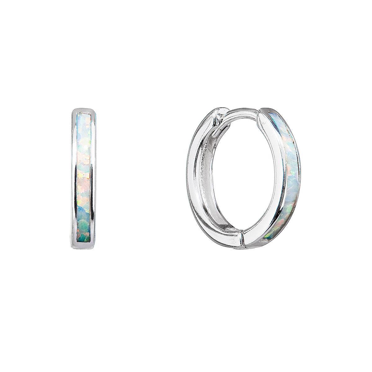 Evolution Group Stříbrné náušnice kroužky se syntetickým opálem bílé 11403.1