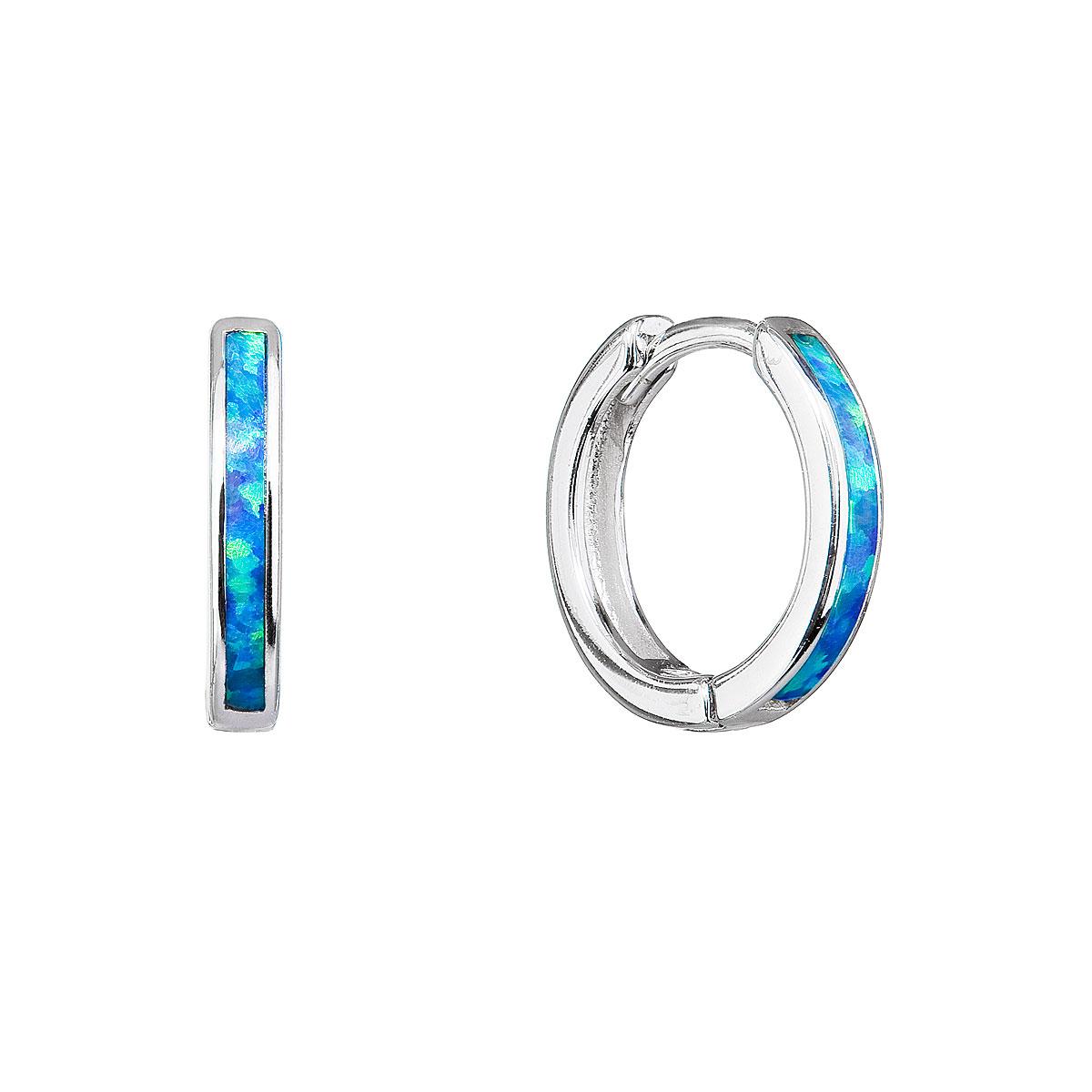 Evolution Group Stříbrné náušnice kroužky se syntetickým opálem modré 11403.3