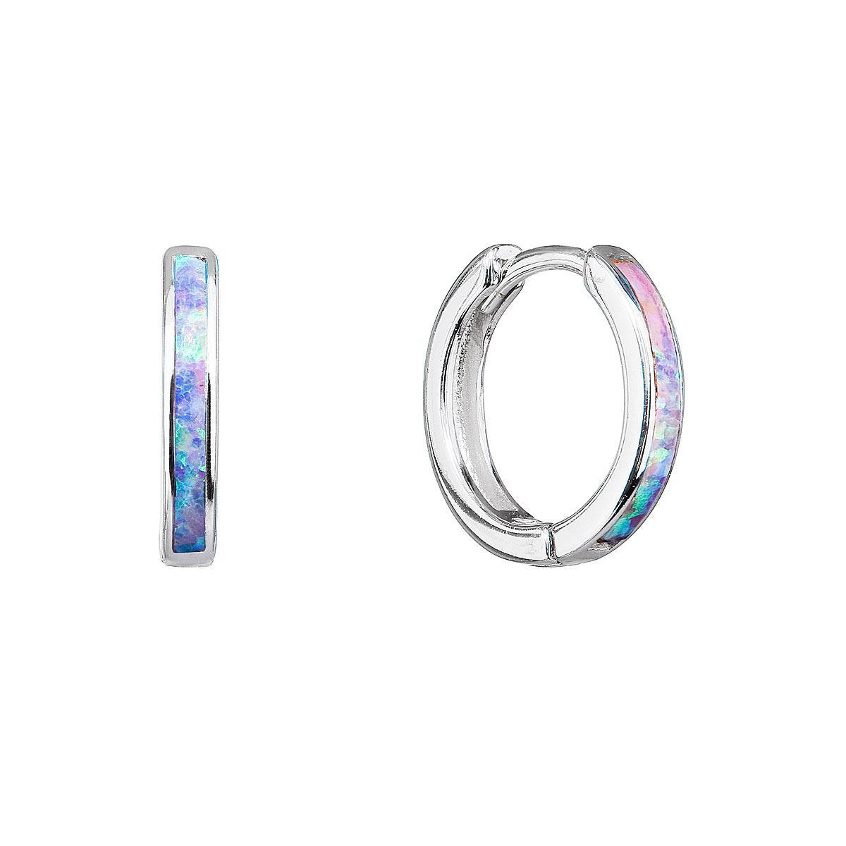 Evolution Group Stříbrné náušnice kroužky se syntetickým opálem duhové 11403.3