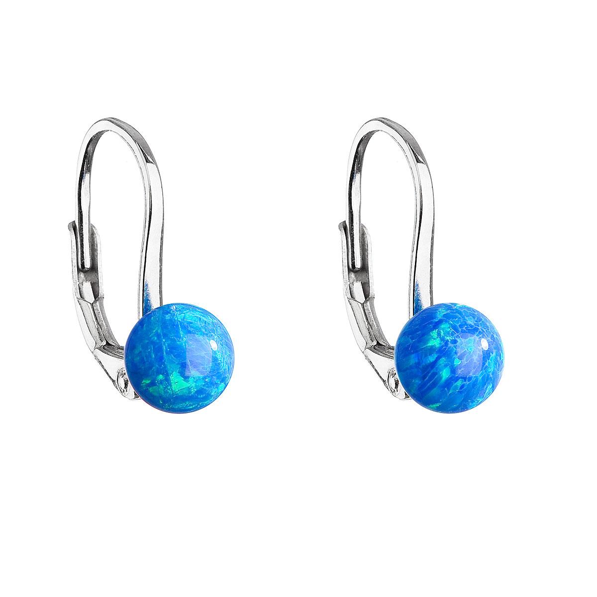 Evolution Group Stříbrné visací náušnice se syntetickým opálem modré kulaté 11242.3