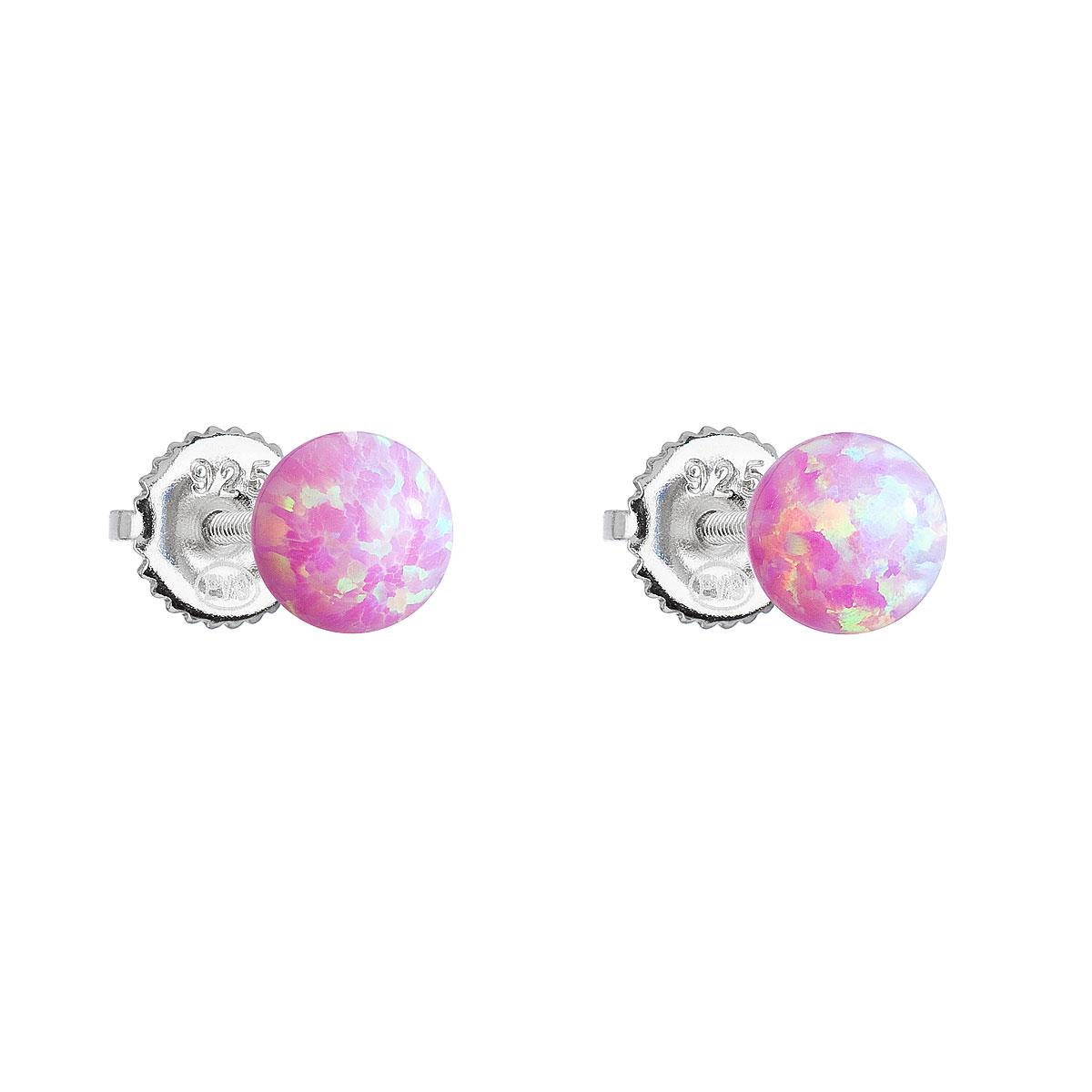 Evolution Group Stříbrné náušnice pecky se syntetickým opálem růžové kulaté 11246.3