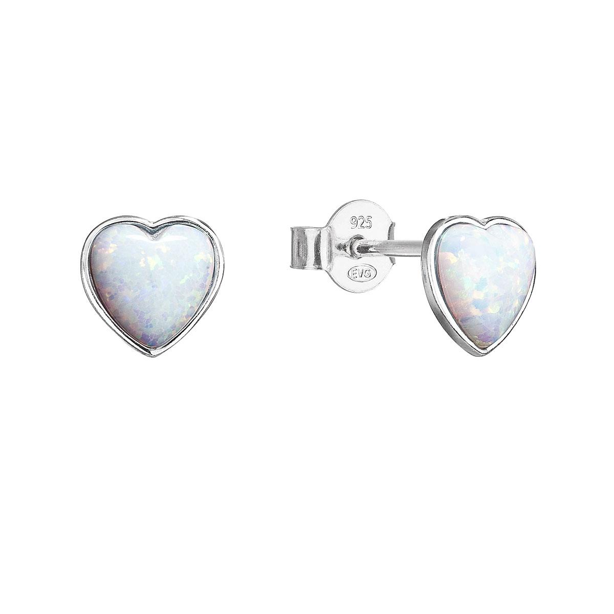 Evolution Group Stříbrné náušnice pecky se syntetickým opálem bílé srdce 11337.1