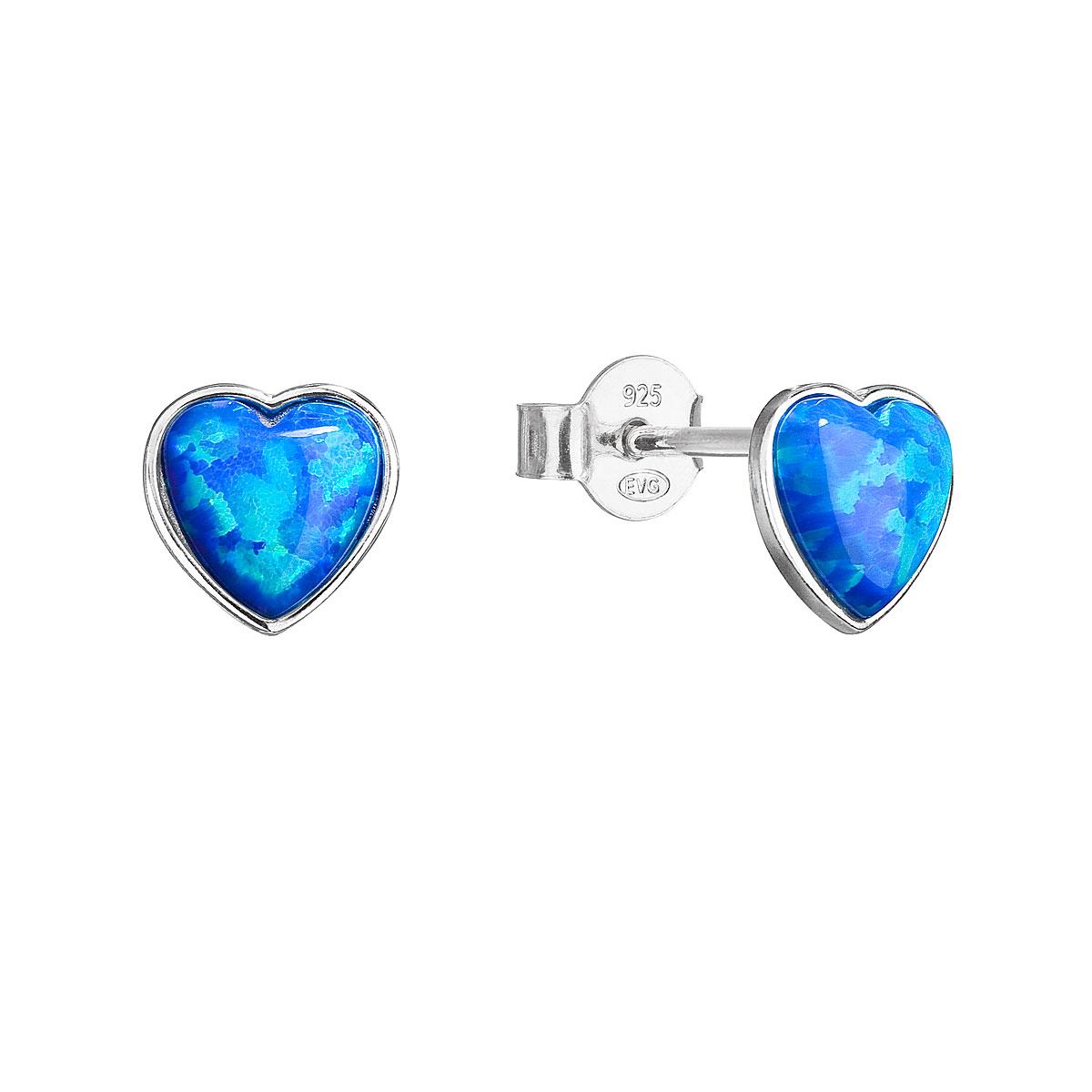 Evolution Group Stříbrné náušnice pecky se syntetickým opálem modré srdce 11337.3