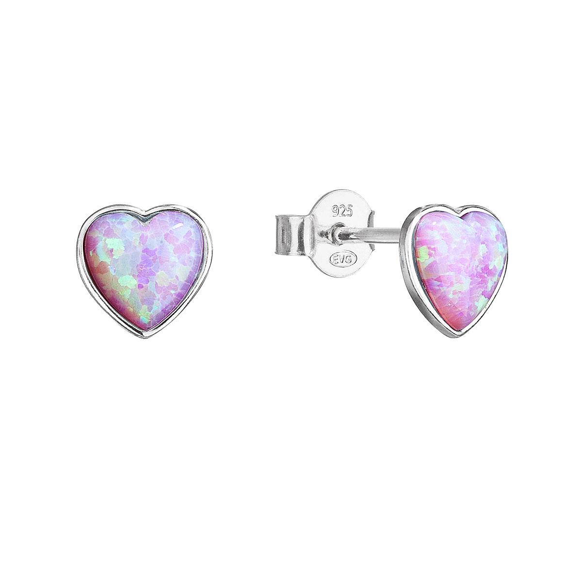 Evolution Group Stříbrné náušnice pecky se syntetickým opálem růžové srdce 11337.3