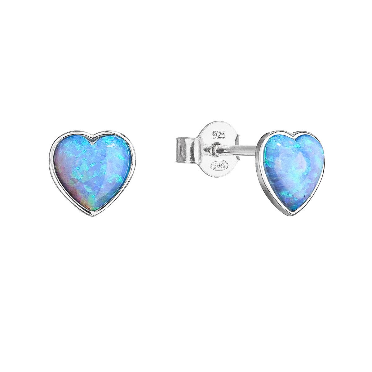 Evolution Group Stříbrné náušnice pecky se syntetickým opálem světle modré srdce 11337.3