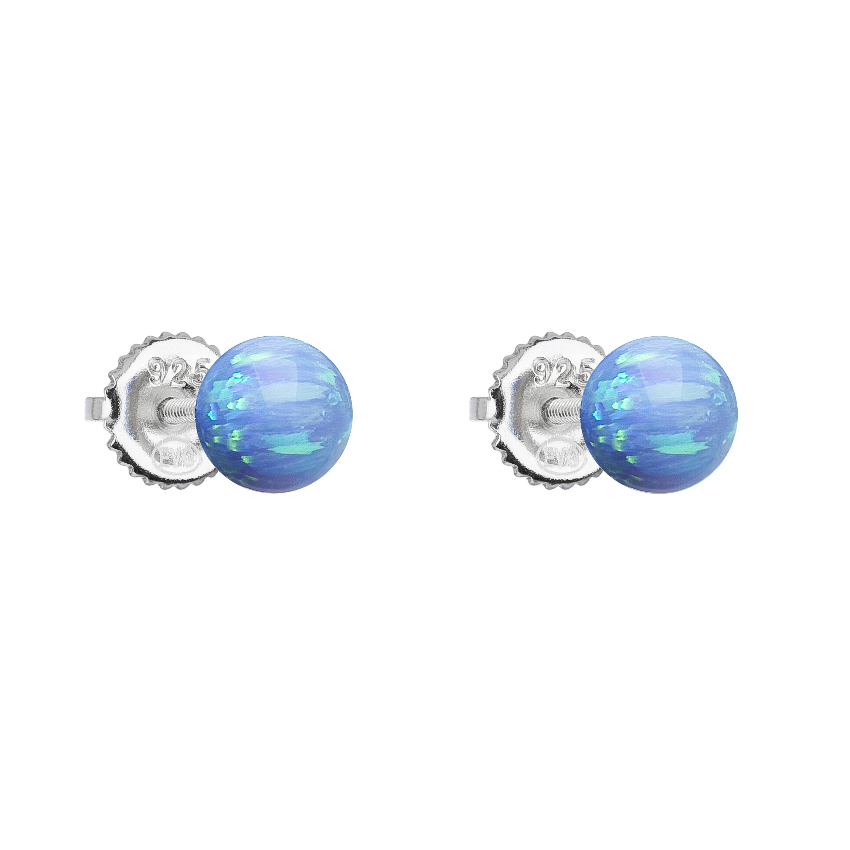 Evolution Group Stříbrné náušnice pecky se syntetickým opálem světle modré kulaté 11246.3 lt.blue