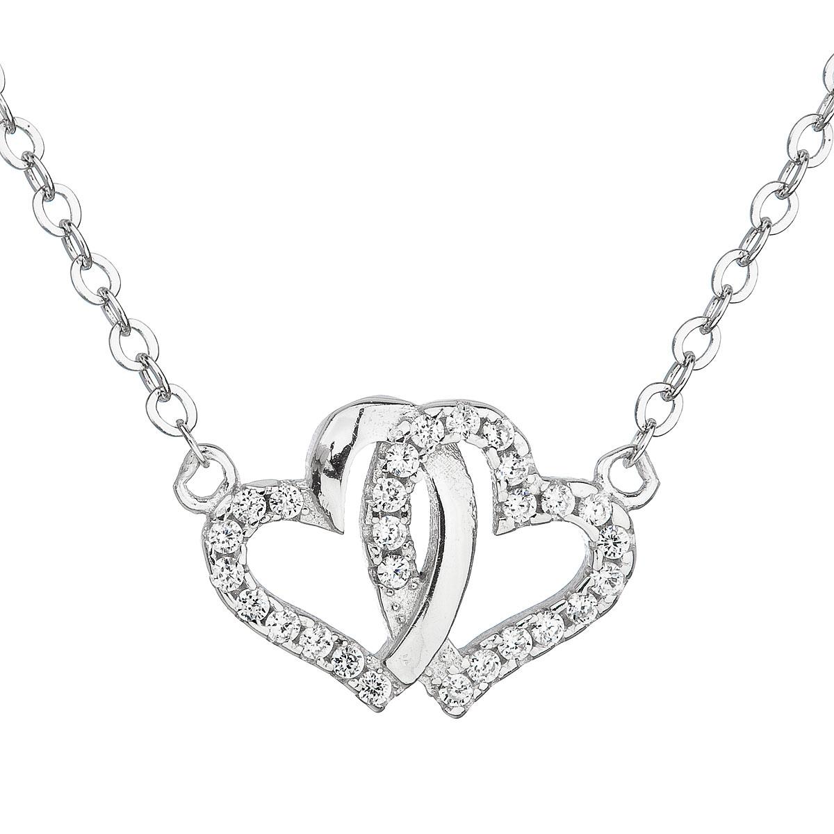 Stříbrný náhrdelník se zirkonem bílé srdce 12006.1