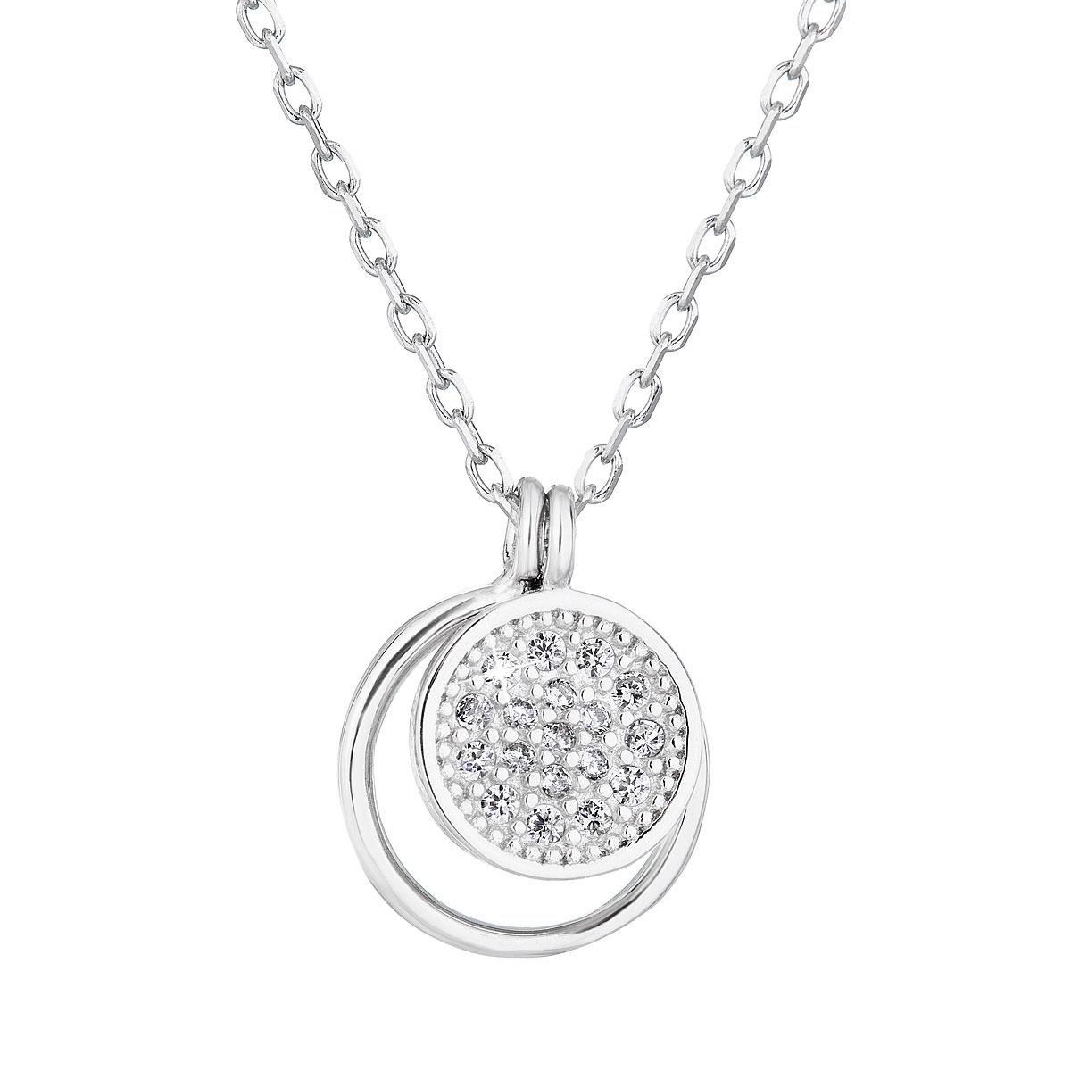 Evolution Group Stříbrný náhrdelník se zirkonem bílý kulatý 12011.1