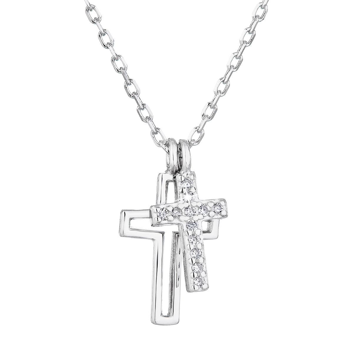 Evolution Group Stříbrný náhrdelník se zirkonem bílý křížek 12012.1