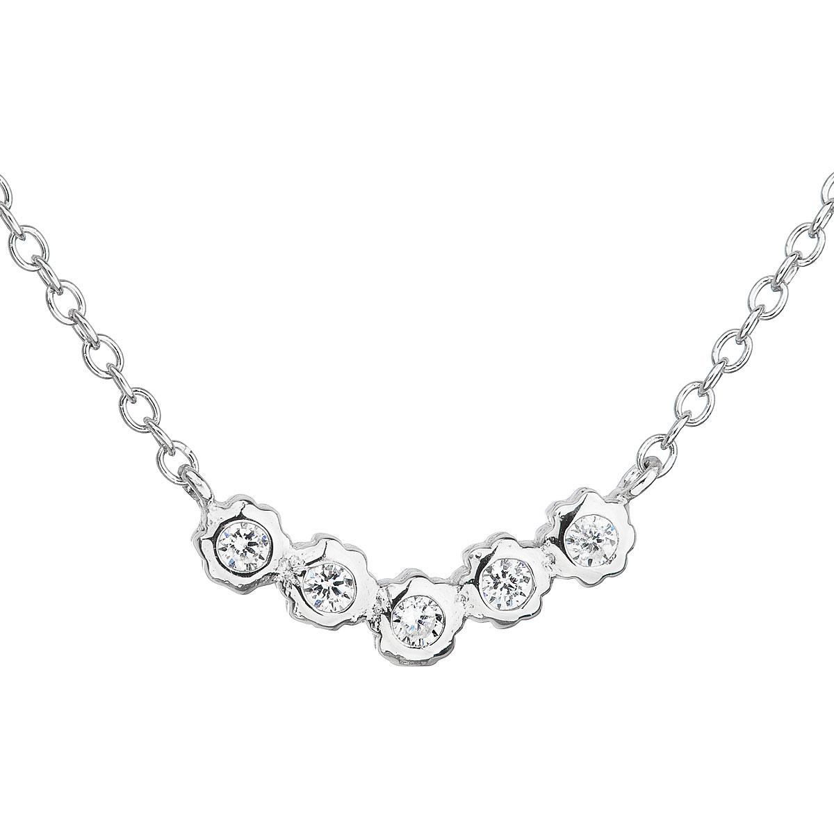 Stříbrný náhrdelník se zirkonem v bílé barvě 12014.1