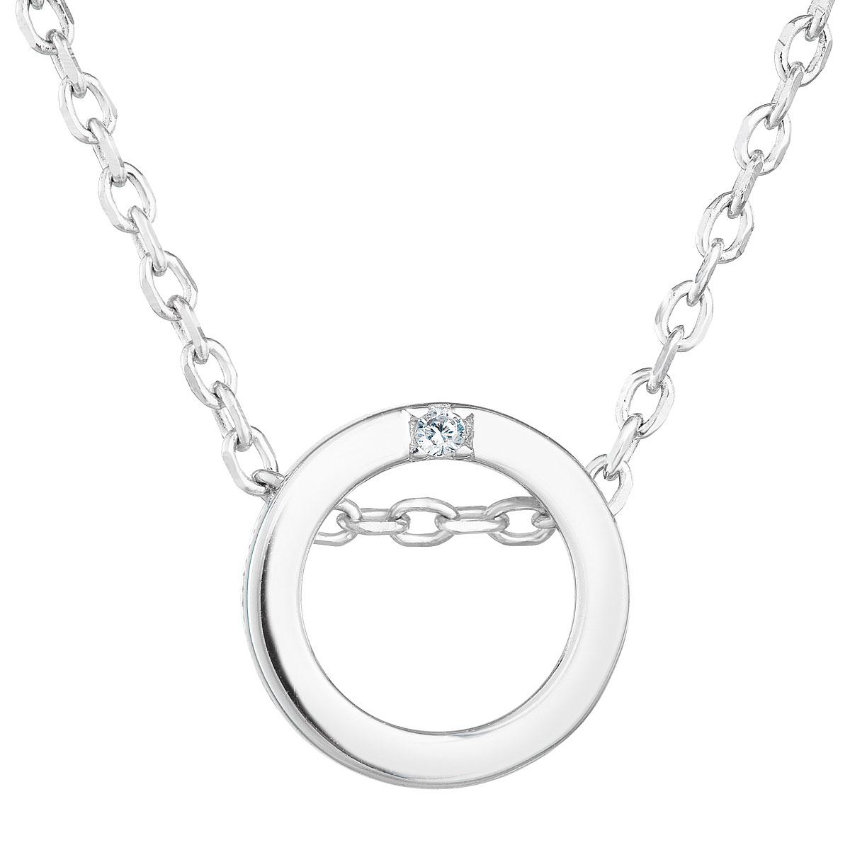 Evolution Group Stříbrný náhrdelník se zirkonem bílý kulatý 12015.1