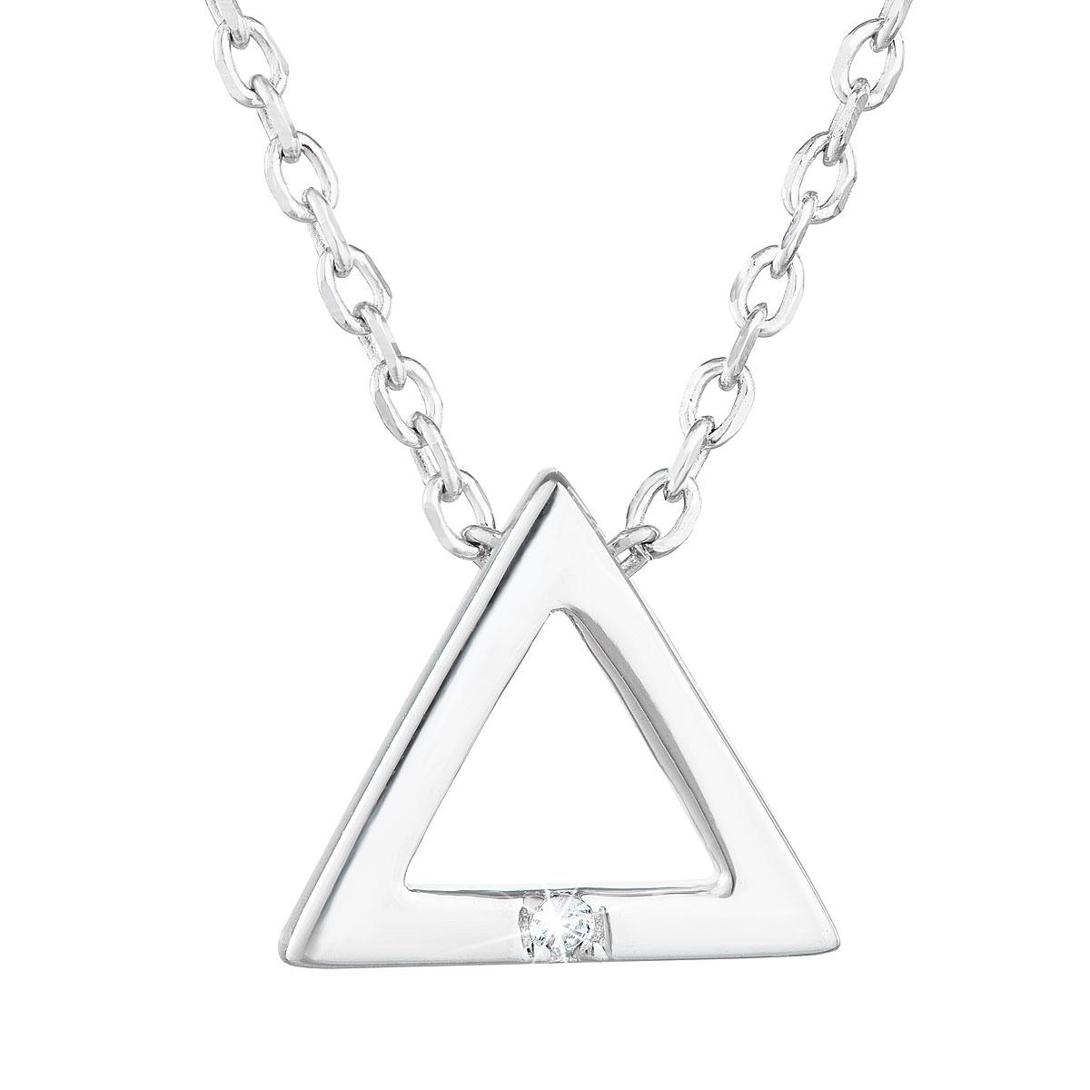 Evolution Group Stříbrný náhrdelník se zirkonem bílý trojúhelník 12016.1