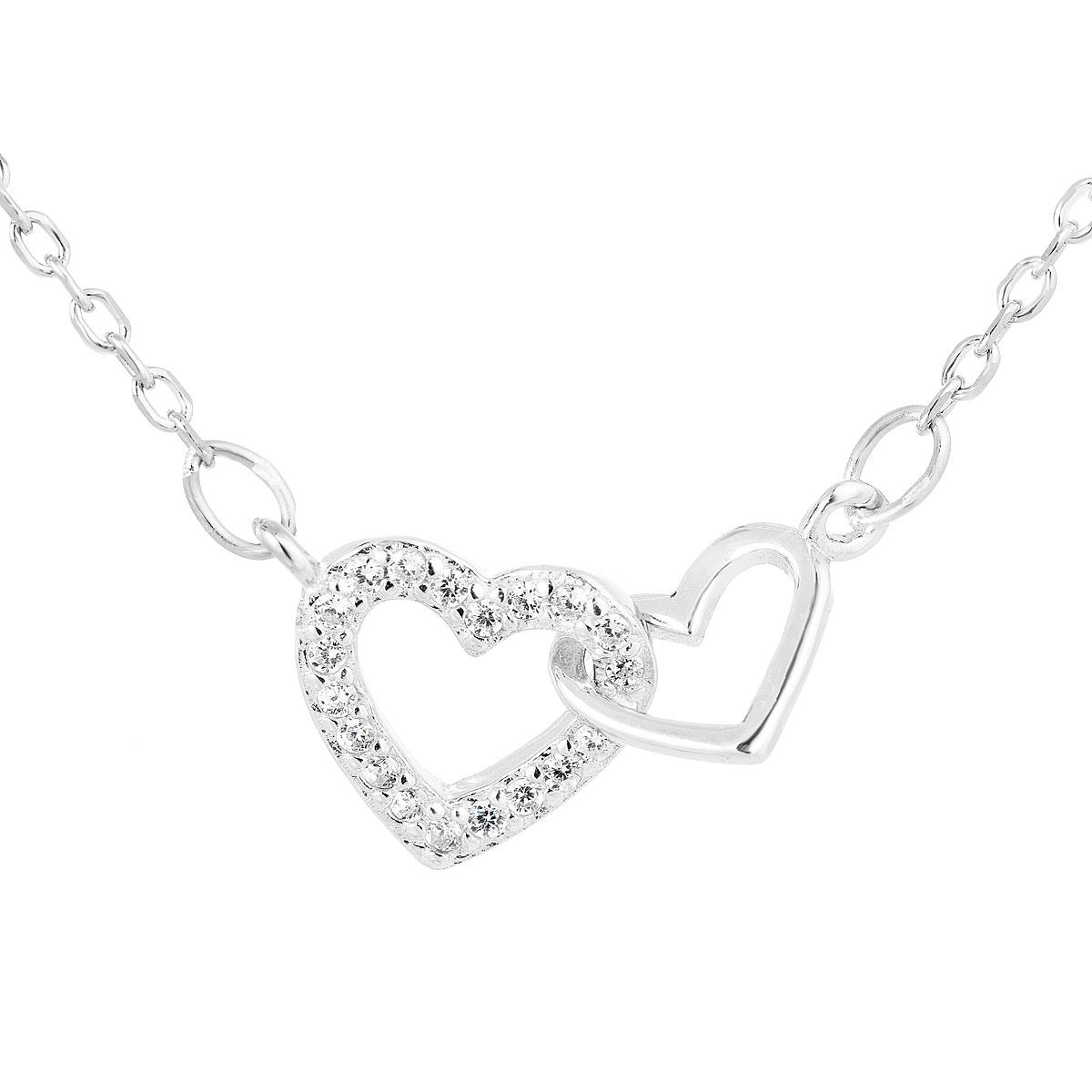 Evolution Group Stříbrný náhrdelník se zirkonem bílé srdce 12018.1