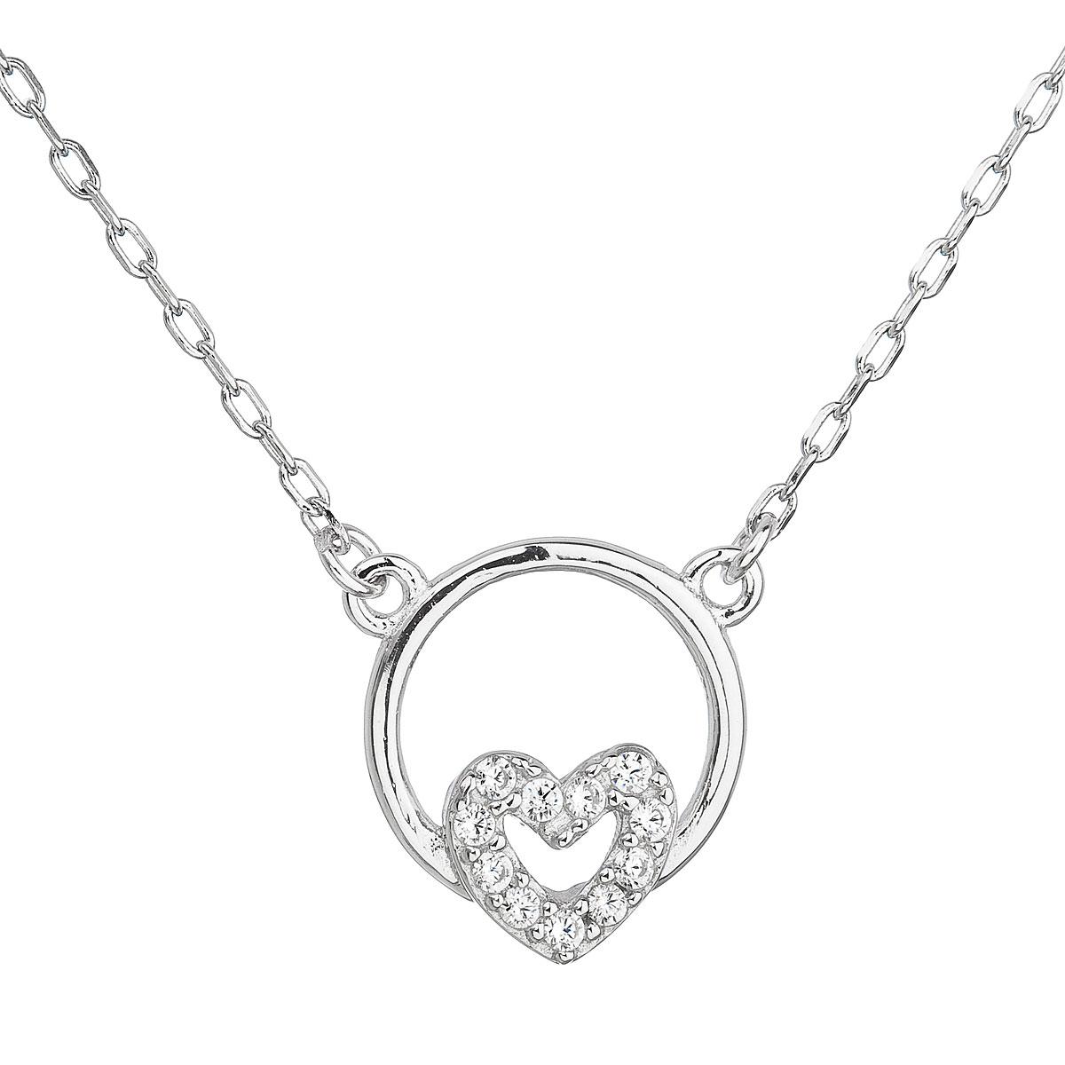 Evolution Group Stříbrný náhrdelník se zirkonem bílé srdce 12021.1