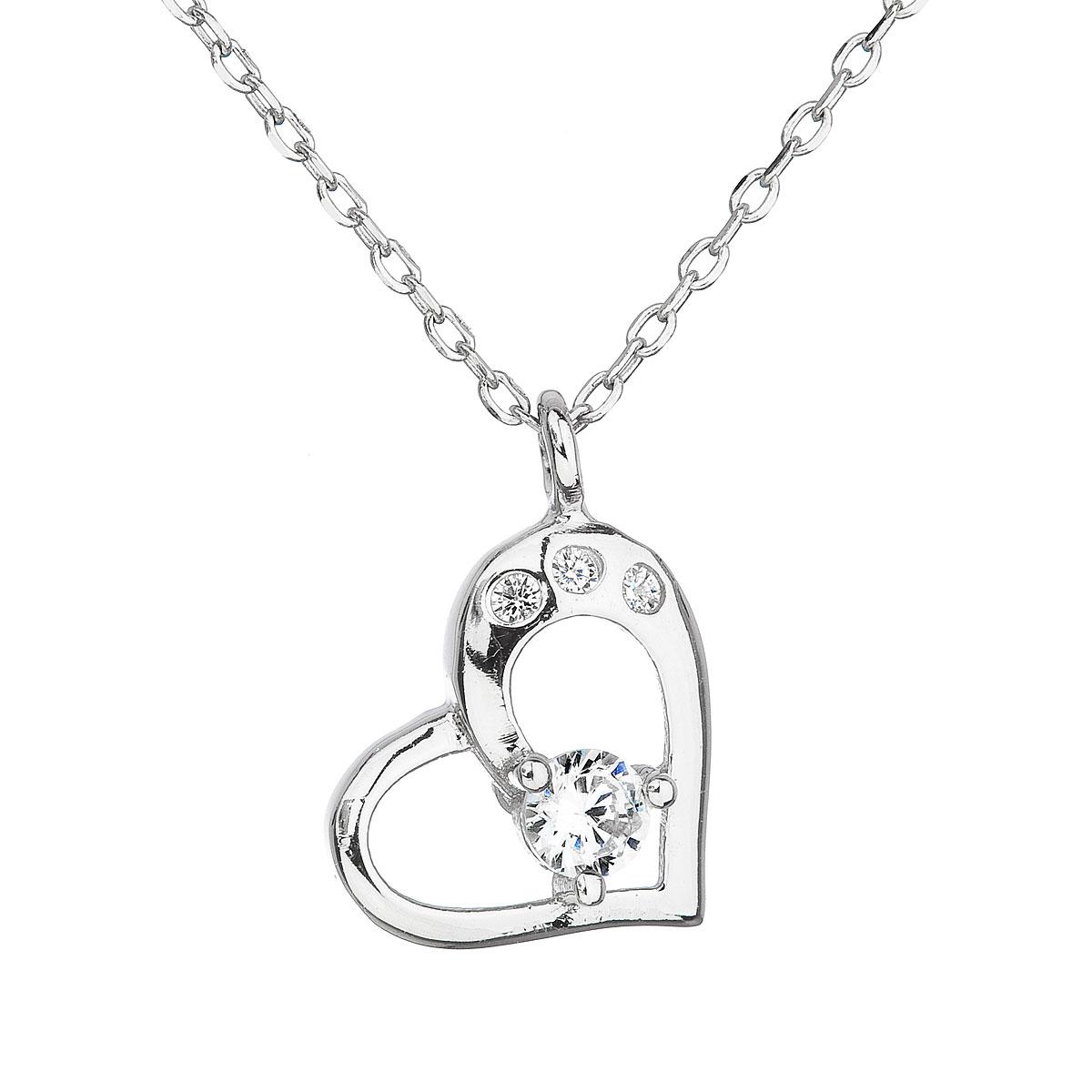 Stříbrný náhrdelník se zirkonem bílé srdce 12022.1