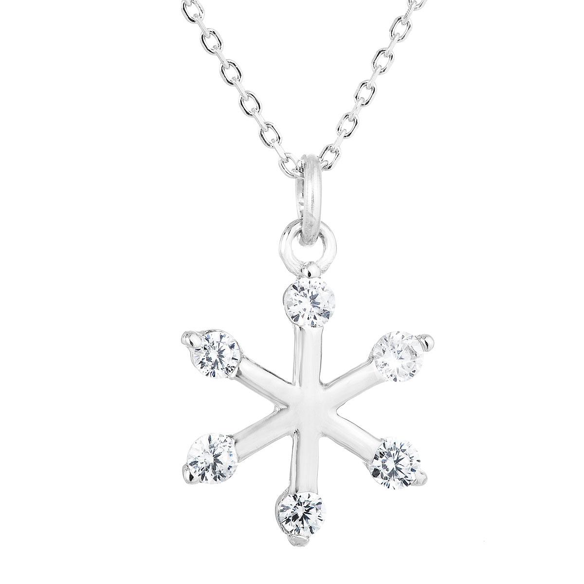Evolution Group Stříbrný náhrdelník se zirkonem bílá vločka 12030.1