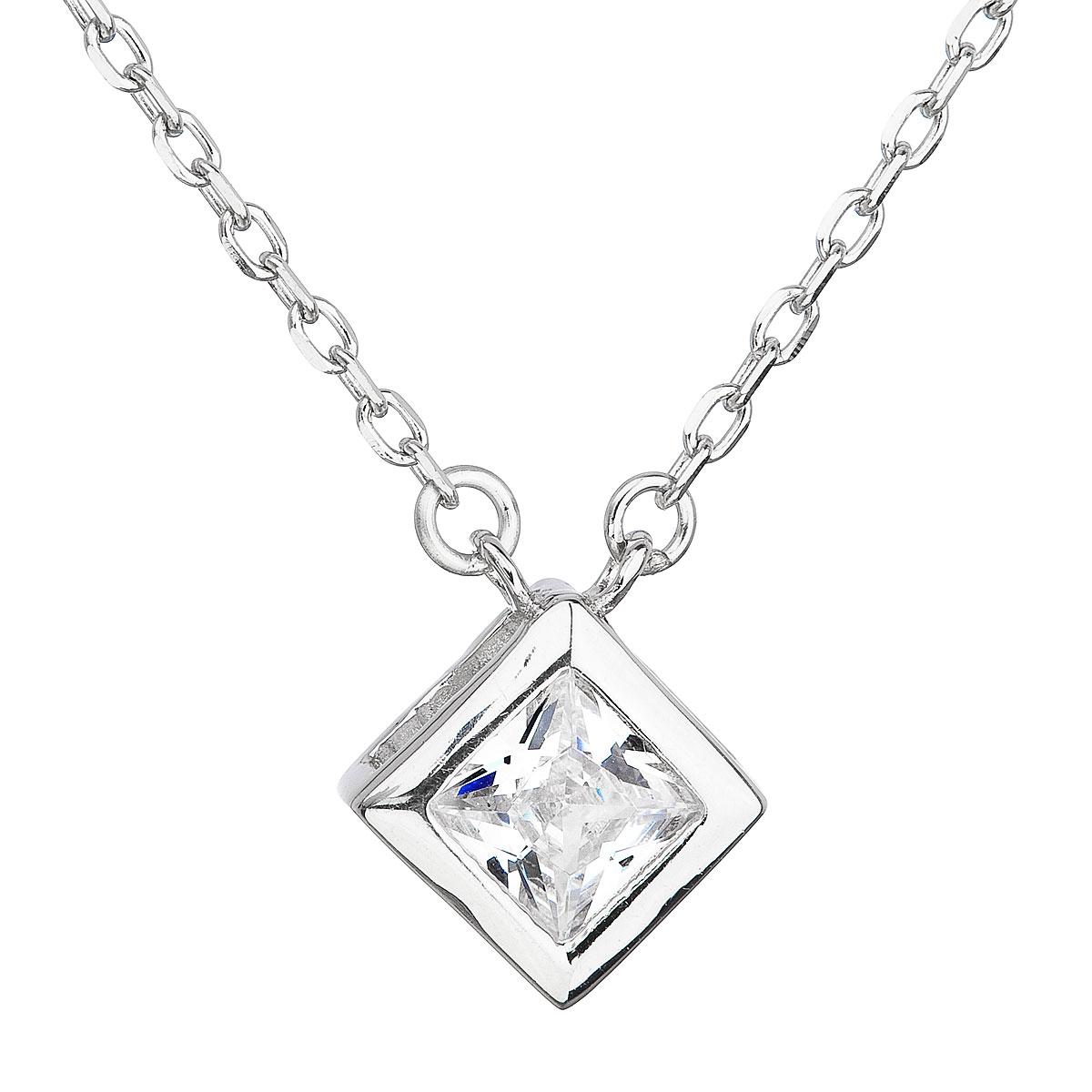 Stříbrný náhrdelník se zirkonem bílý kosočtverec 12031.1