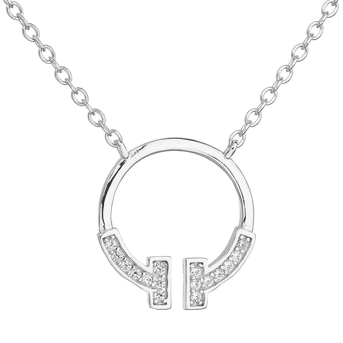 Stříbrný náhrdelník se zirkonem v bílé barvě 12040.1