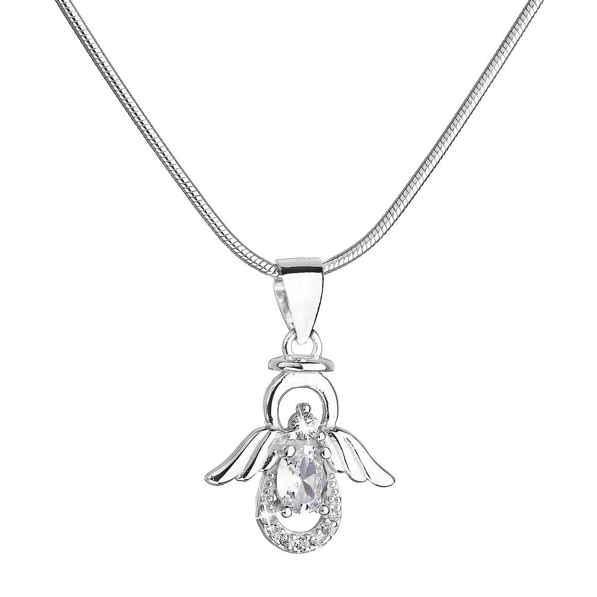 Evolution Group Stříbrný náhrdelník anděl s třpytivými zirkony 12043.1