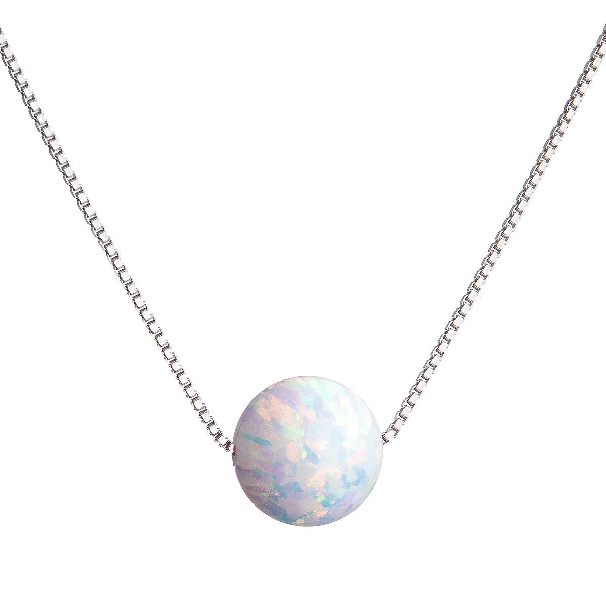 Evolution Group Stříbrný náhrdelník se syntetickým opálem bílý kulatý 12044.1