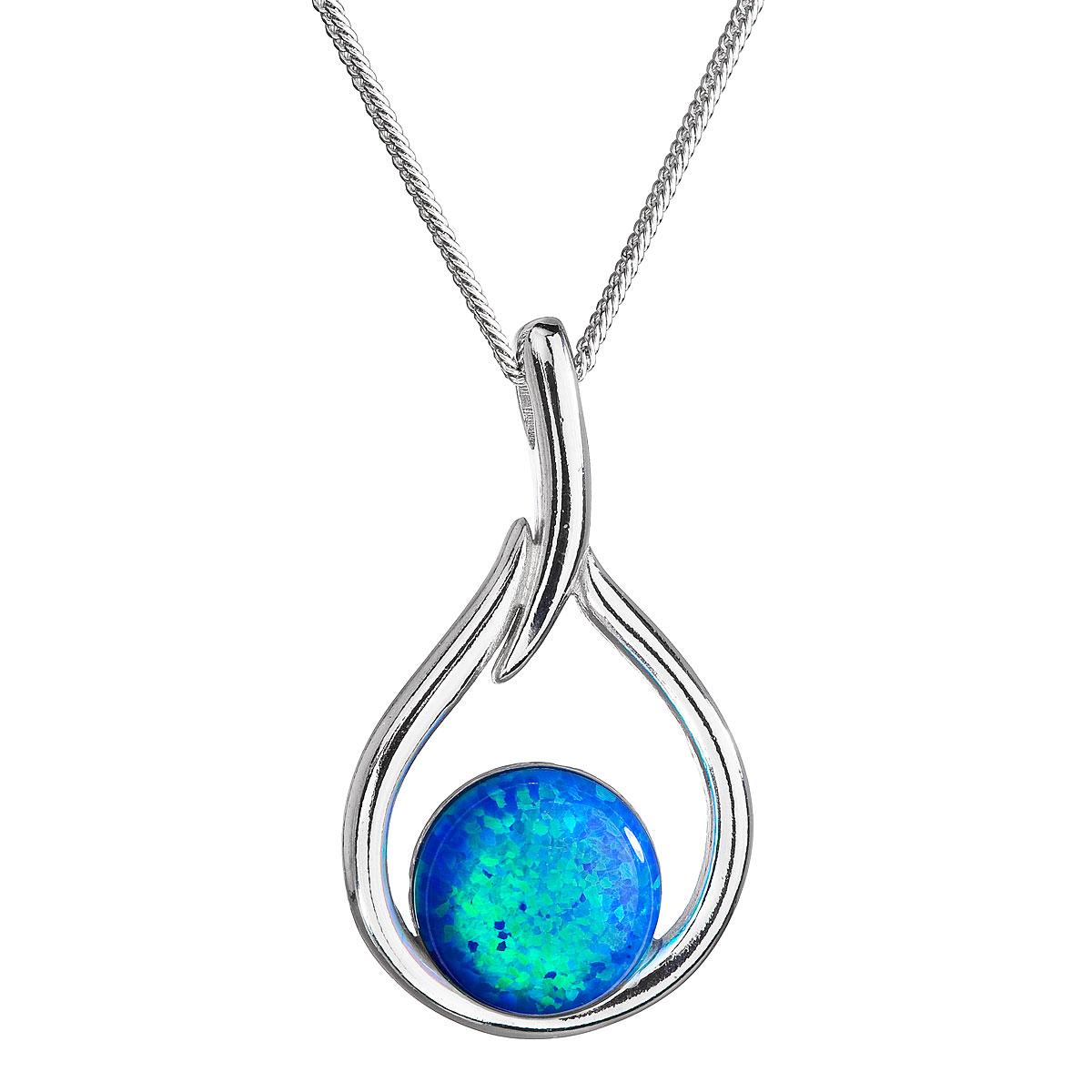 Evolution Group Stříbrný náhrdelník se syntetickým opálem modrá kapka 12045.3