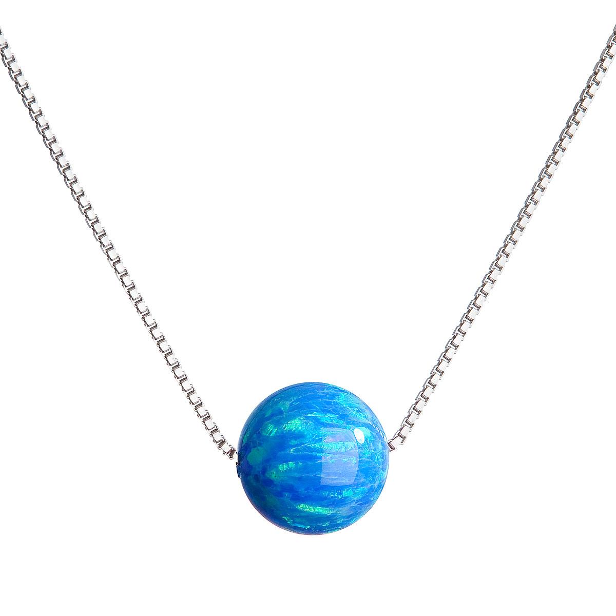 Evolution Group Stříbrný náhrdelník se syntetickým opálem modrý kulatý 12044.3