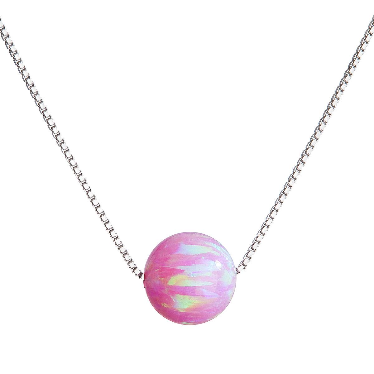 Evolution Group Stříbrný náhrdelník se syntetickým opálem růžový kulatý 12044.3