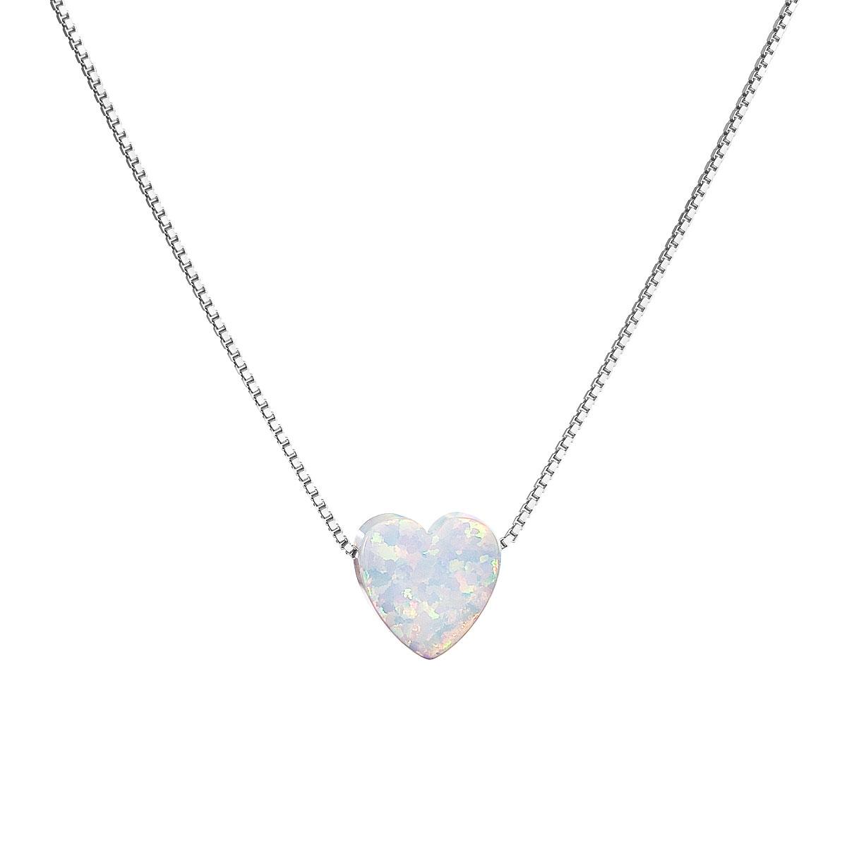 Evolution Group Stříbrný náhrdelník se syntetickým opálem bílé srdce 12048.1