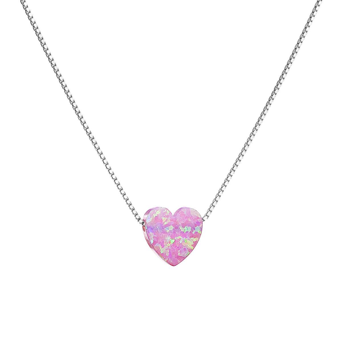 Evolution Group Stříbrný náhrdelník se syntetickým opálem růžové srdce 12048.3
