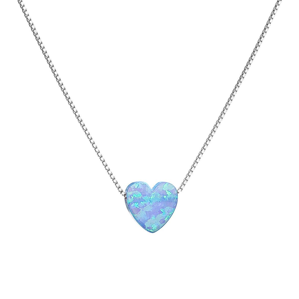 Evolution Group Stříbrný náhrdelník se syntetickým opálem světle modré srdce 12048.3