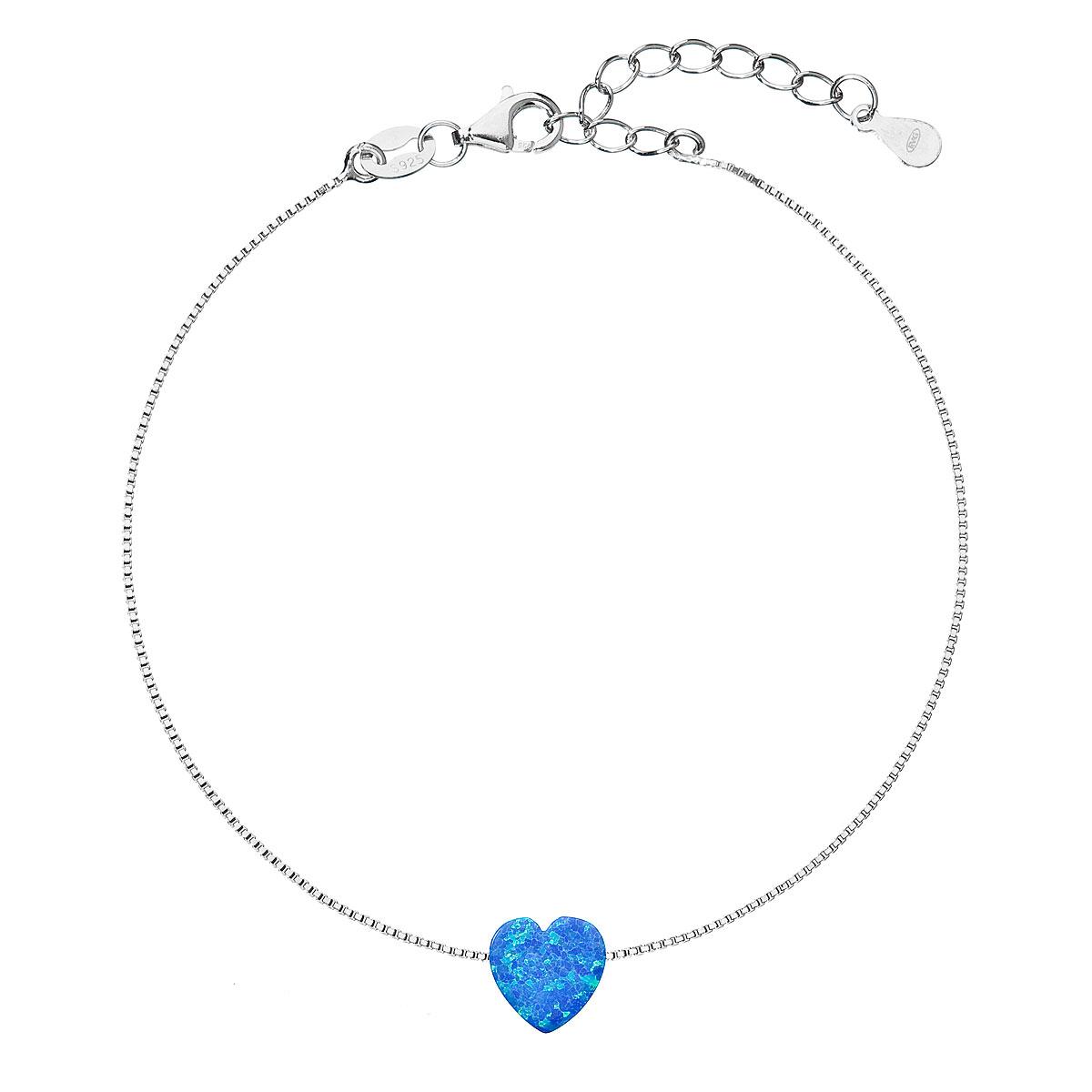 Evolution Group Stříbrný náramek se syntetickým opálem modré srdce 13018.3