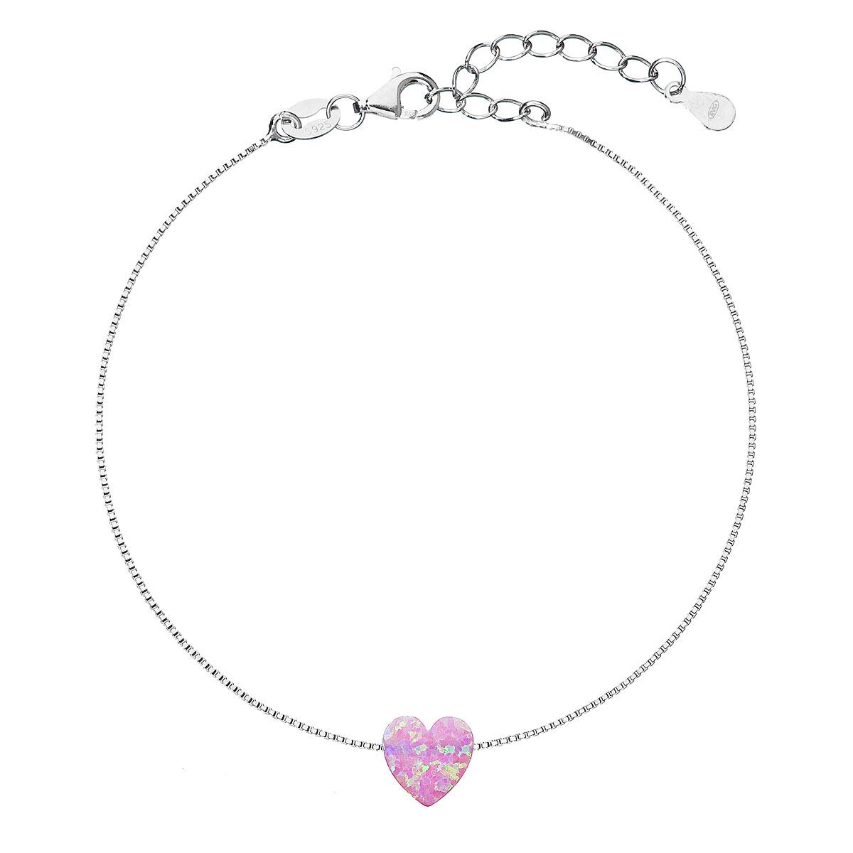 Evolution Group Stříbrný náramek se syntetickým opálem růžové srdce 13018.3