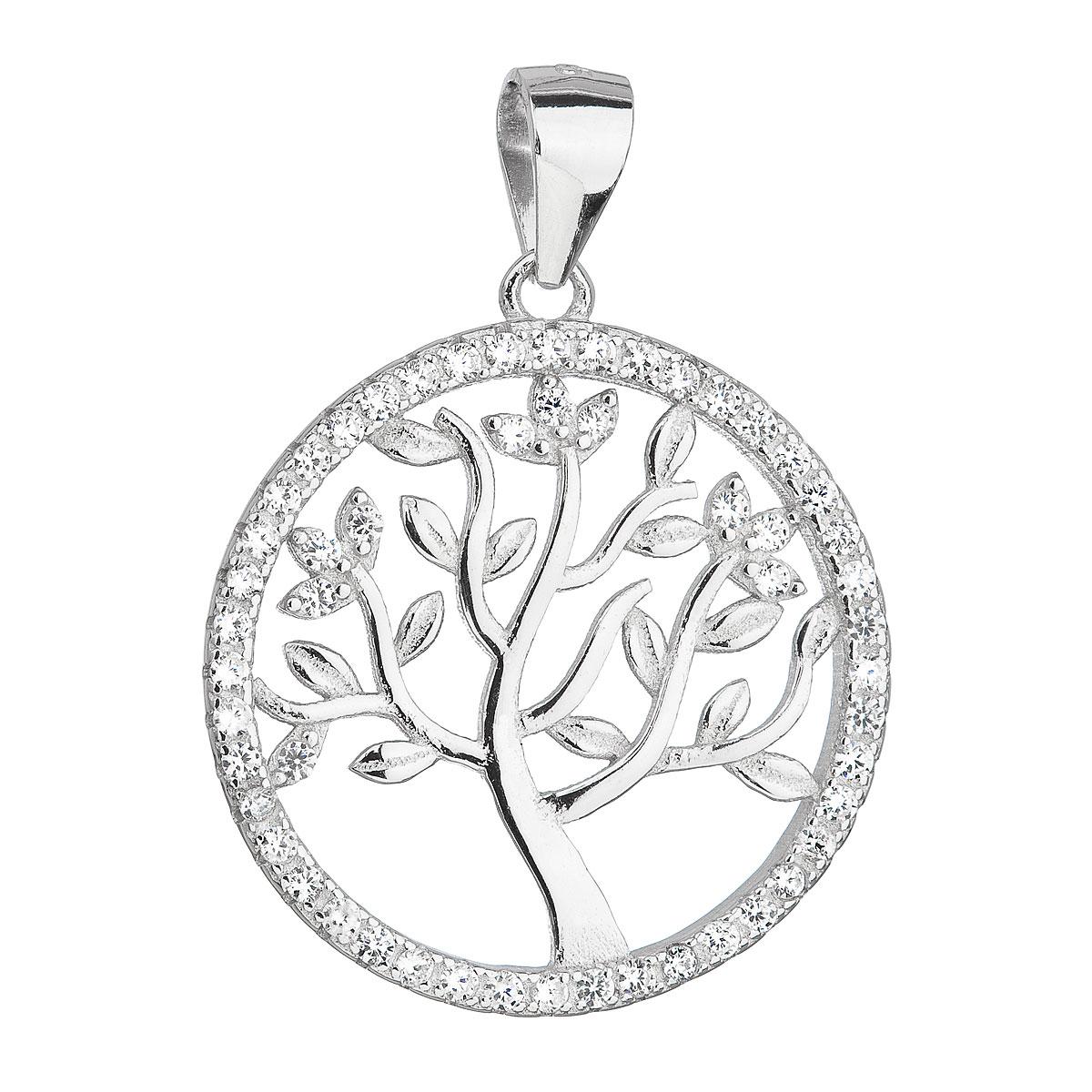 Evolution Group Stříbrný přívěsek se zirkony v bílé barvě strom života 14001.1