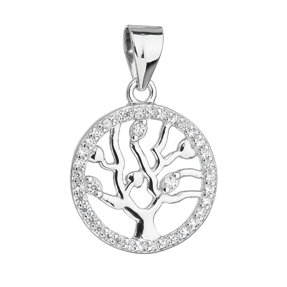 Evolution Group Stříbrný přívěsek se zirkony v bílé barvě strom života 14003.1