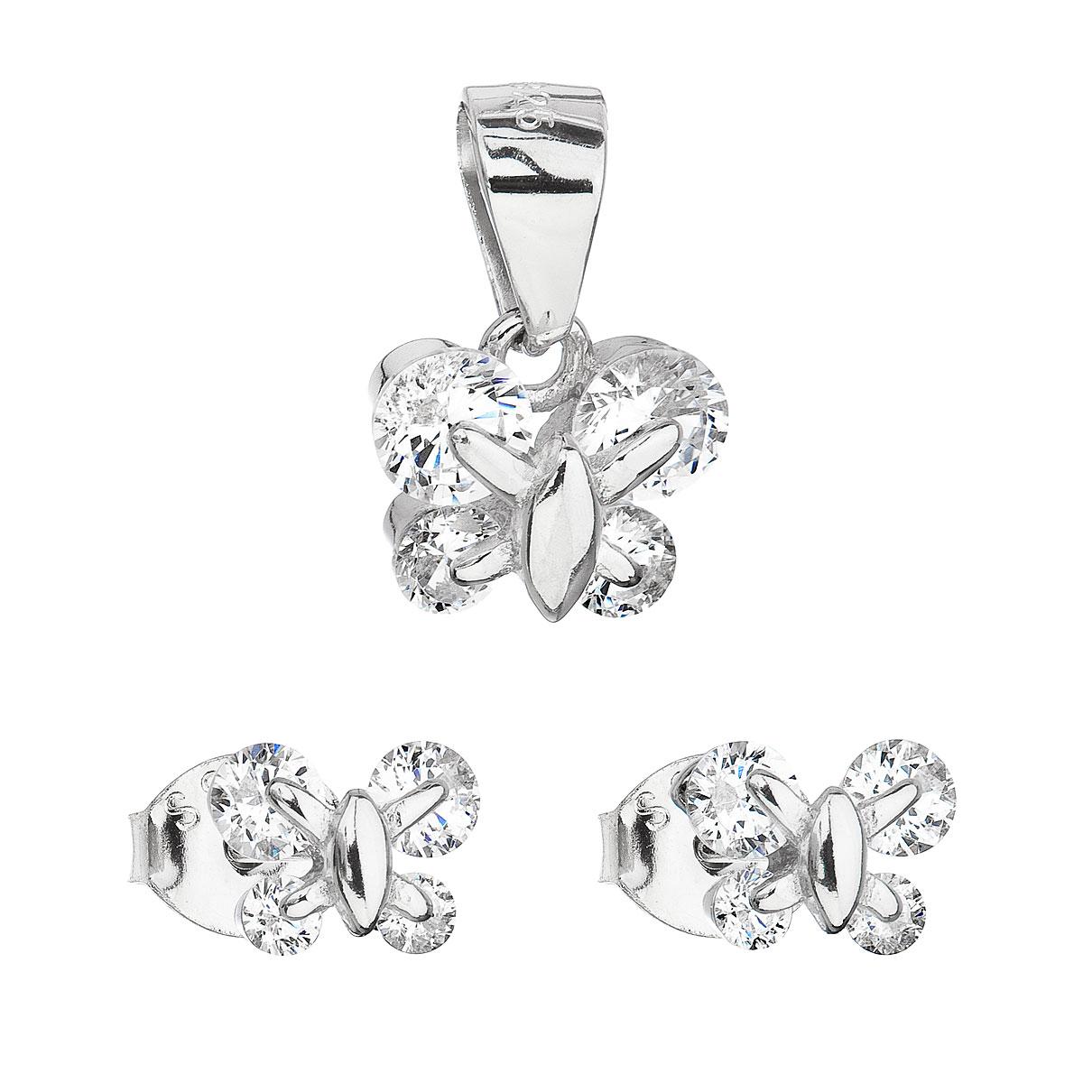Evolution Group Sada šperků se zirkonem náušnice a přívěsek bílý motýl 19005.1