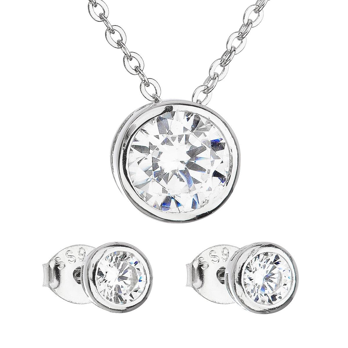 Evolution Group Sada šperků se zirkonem v bílé barvě náušnice a náhrdelník 19006.1