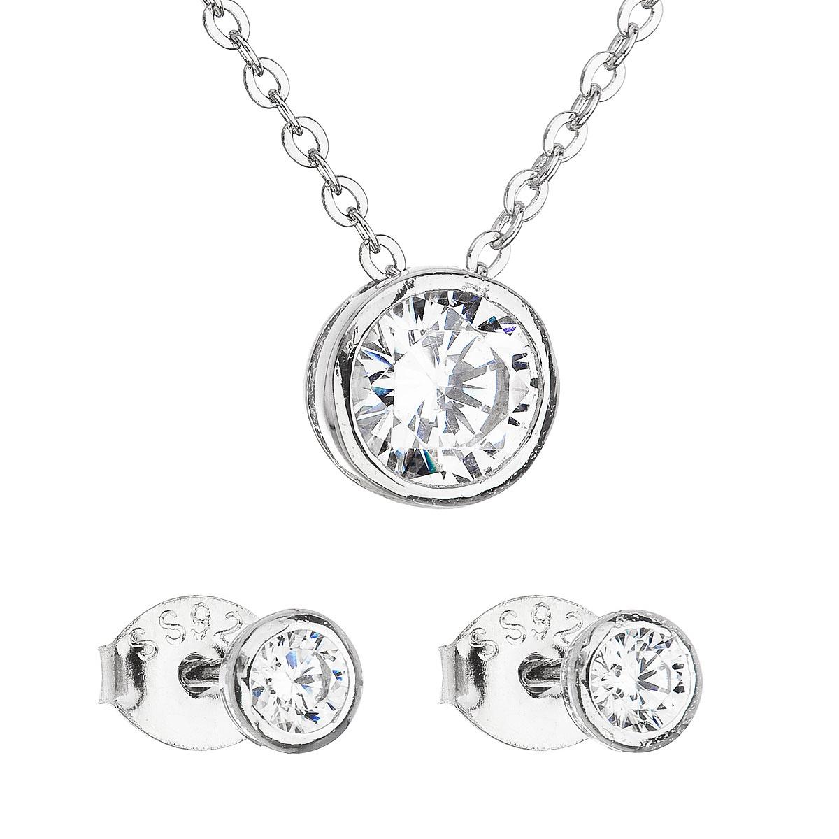 Evolution Group Sada šperků se zirkonem v bílé barvě náušnice a náhrdelník 19007.1