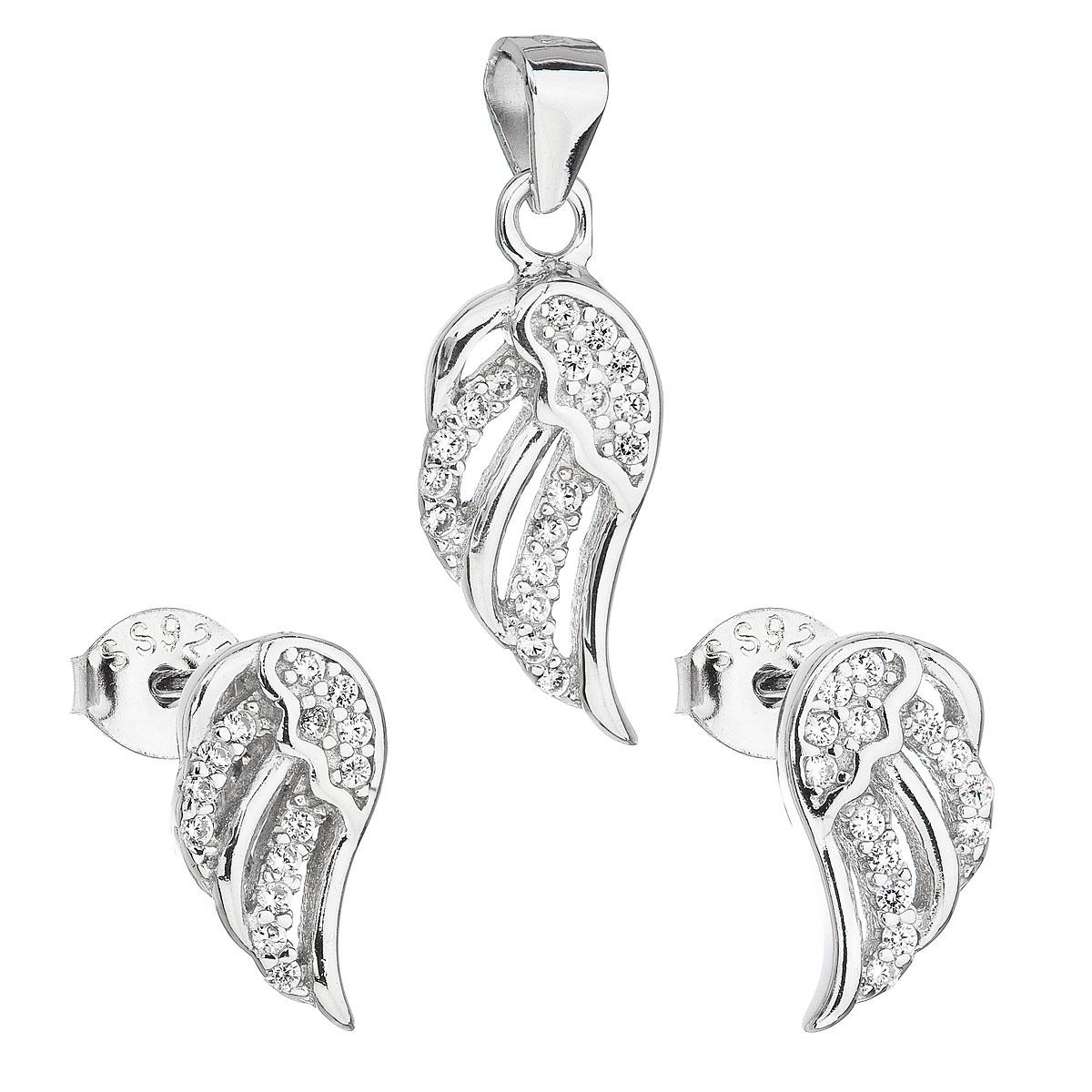 Evolution Group Sada šperků se zirkonem v bílé barvě náušnice a přívěsek 19008.1