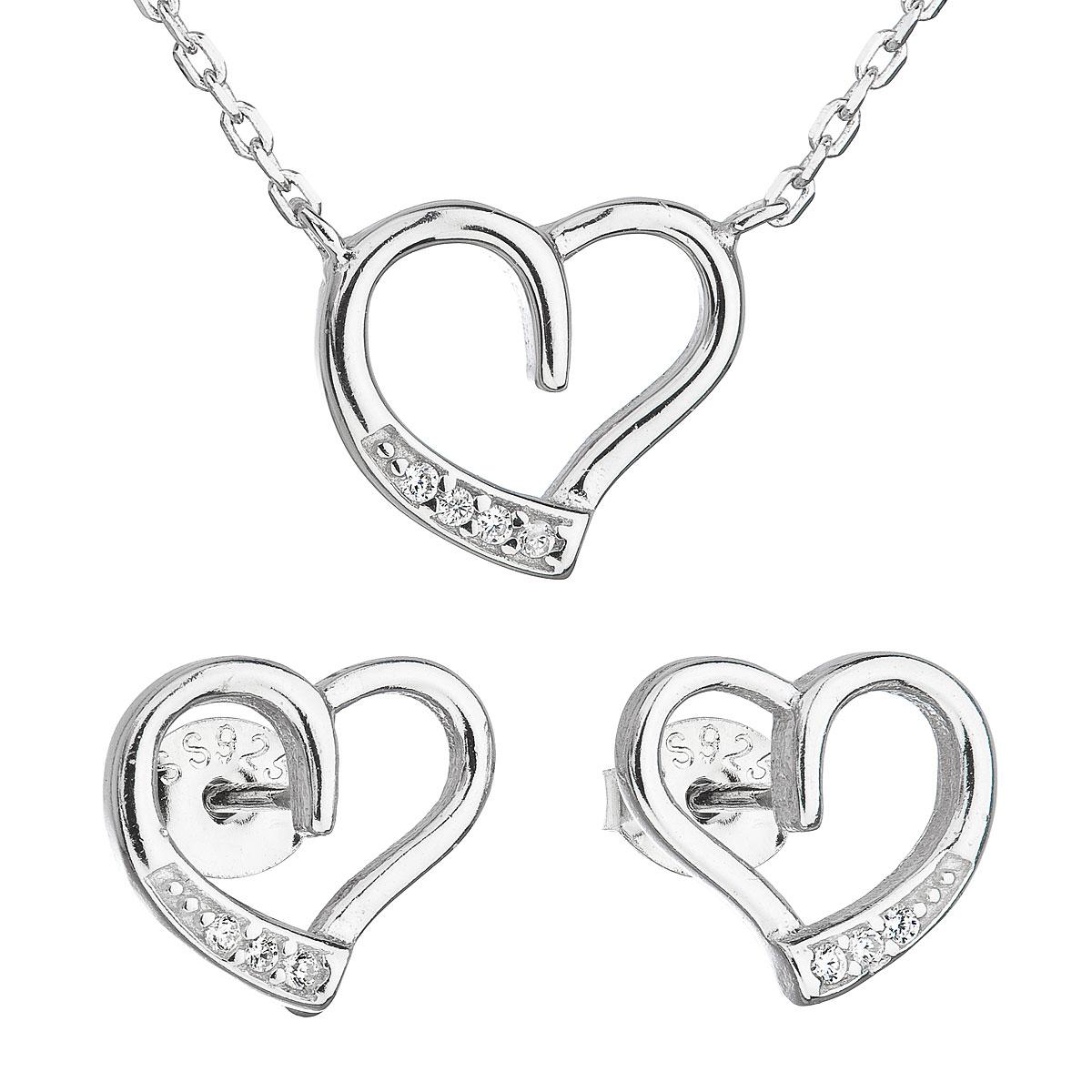 Sada šperků se zirkonem náušnice a náhrdelník bílé srdce 19009.1